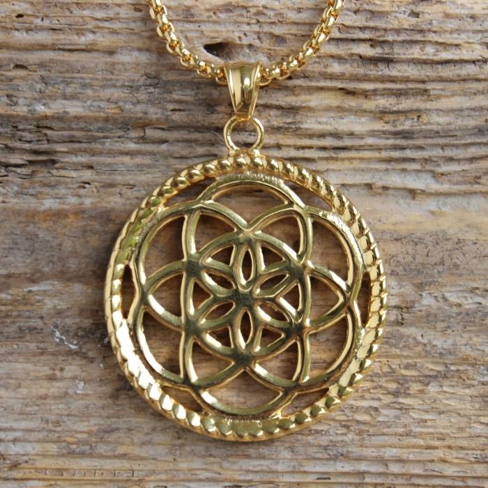 Traumfänger, Glücksanhänger - Gross  - Blume - 4,5cm - Gold