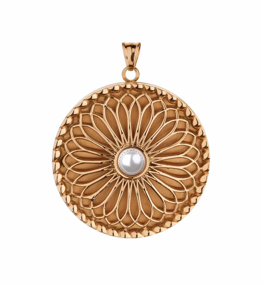 Traumfänger, Glücksanhänger - MEDAILLON mit PERLE - 3,5cm - Gold