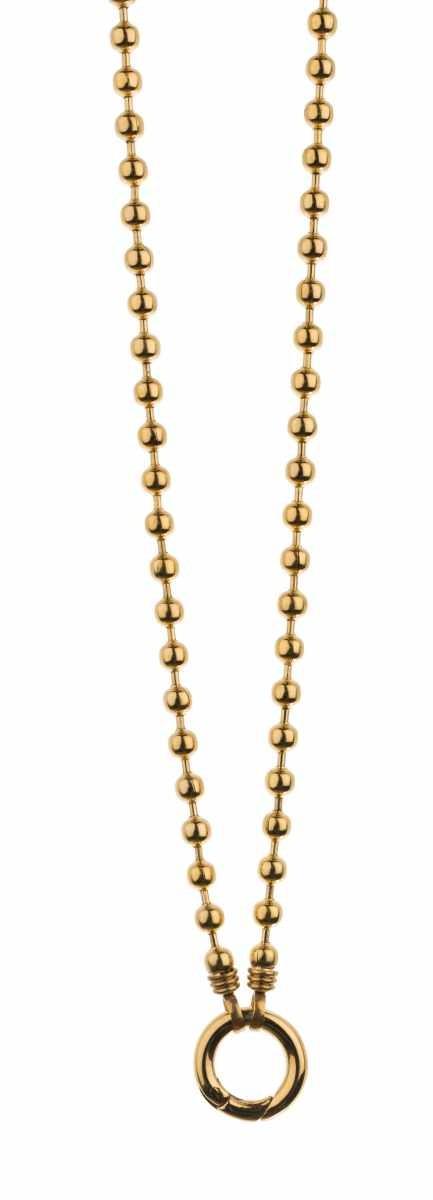 Traumfänger, Glücksanhänger - HALSKETTE - KUGELKETTE - Gold - 70cm