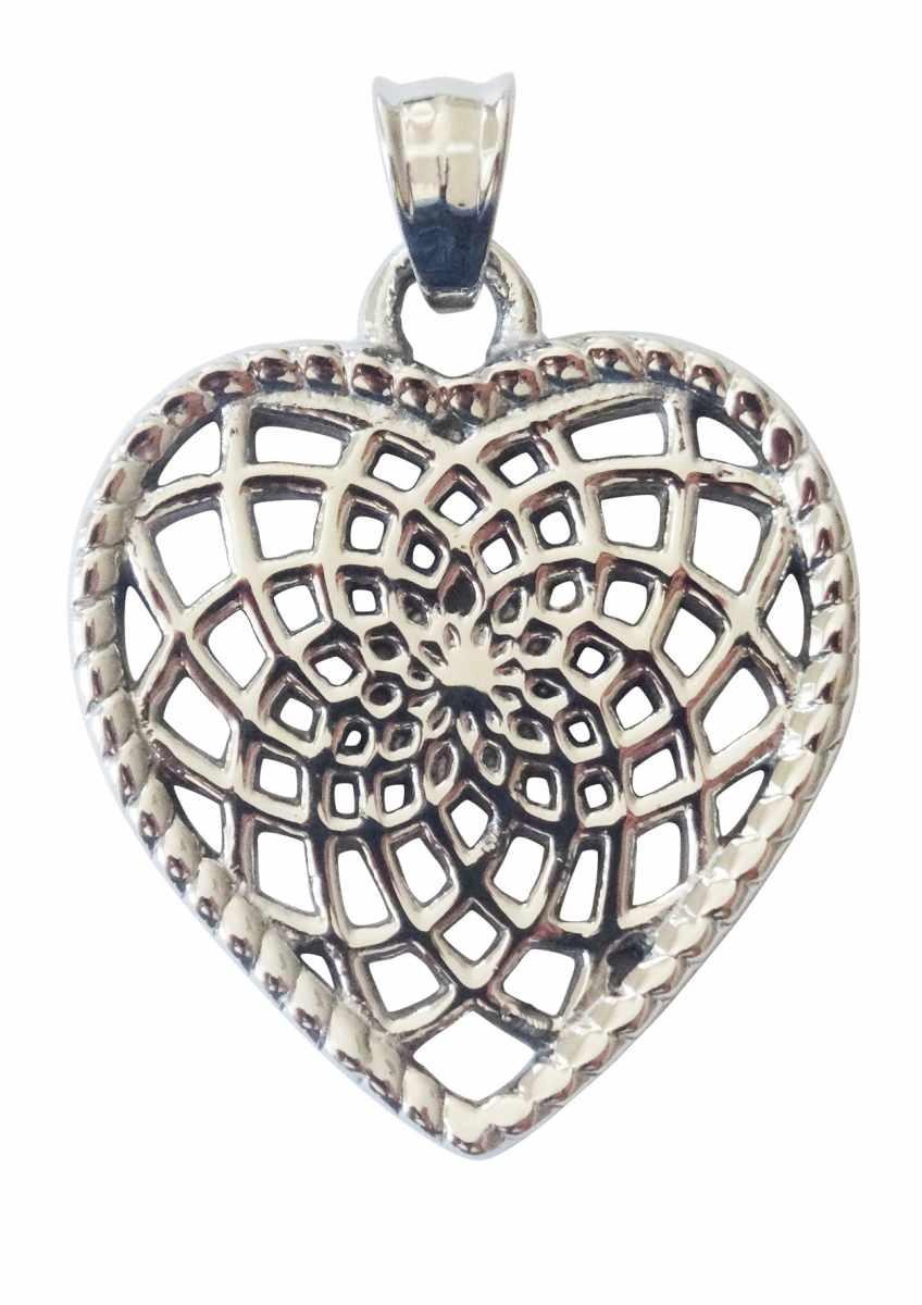 Traumfänger, Glücksanhänger - HERZ - 3,5cm - Silber