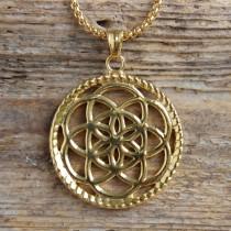 Traumfänger, Glücksanhänger - Klein - Blume - 2,5cm - Gold