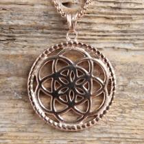 Traumfänger, Glücksanhänger - Gross  - Blume - 4,5cm - Rosé Gold