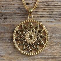 Traumfänger, Glücksanhänger - Gross  - Stern - 4,5cm - Gold