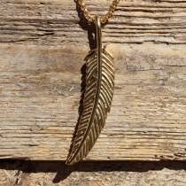 Traumfänger, Glücksanhänger - FEDER - Gross - 7,5cm - Gold
