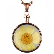 BLUMENKIND - Schmuck - Anhänger Rosegold - Chrysantheme Gelb