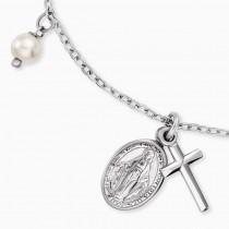 Engelsrufer - Armband - Heilige Maria und Kreuz mit Perle