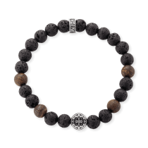 Gervida - Herrenschmuck - Armband - Bronzitperlen + Lavasteine