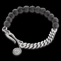 Gervida - Herrenschmuck - Armband - Lavastein, Silberkette