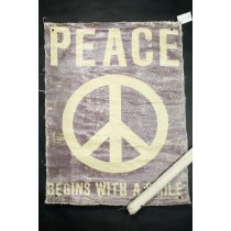 Cooles Poster aus Leinen - im Fabric / Vintage Look - Peace begins with a smile