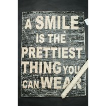 Cooles Poster aus Leinen - im Fabric / Vintage Look - A smile is the prettiest thing you can wear