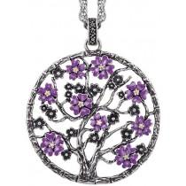 Julie Julsen - Lebensbaum - Kollektion Sakura - Silber oxidiert mit Zirkonia - Blüten Lila emailliert