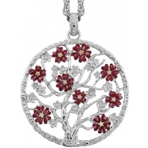 Julie Julsen - Lebensbaum - Kollektion Sakura - Silber mit Zirkonia - Blüten Bordeaux emailliert