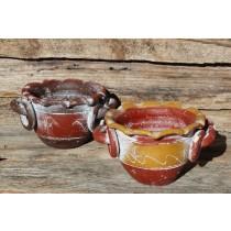 Handgearbeitete Räucherschale aus Mexiko in den Farben Braunrot und Braungelb