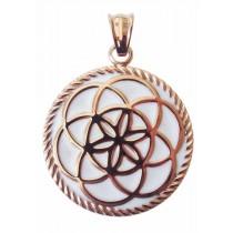 Traumfänger, Glücksanhänger - Mittel - 3,5cm - Rosé Gold Weiss - Blume - Neues Design