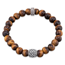 Gervida - Herrenschmuck - Armband - Zugarmband Tigerauge mit Silberperle